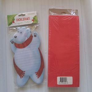 Christmas note pad and red envelopes